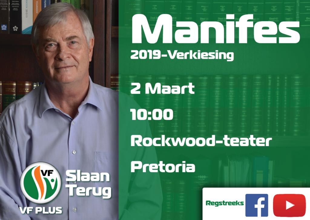 Slaan Terug Daar is Hoop manifes 2019 VF Plus Pieter Groenewald